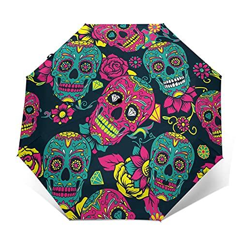 fepeng Colorido azúcar cráneo flor Automático Tri-Fold Paraguas Unisex Impreso Paraguas Manual Paraguas Portátil, Colorido cráneo de azúcar flor, Taille unique