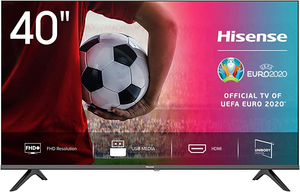 Hisense,  smart tv led full hd 40 pollici, bezelless, usb media player, tuner dvb-t2/s2 hevc main10 40AE5000F