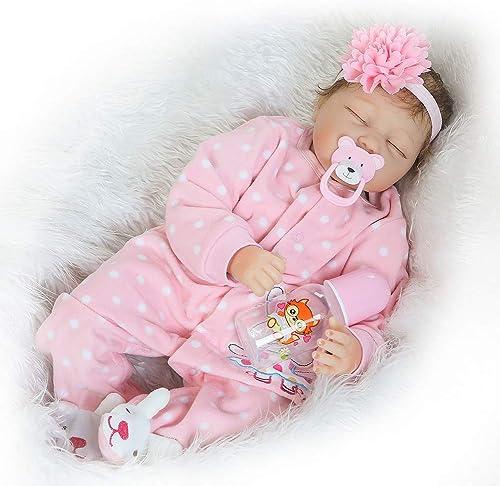 CAheadY 46cm Vinyl Silikon Reborn Baby Doll Lebensechte Kinder Begleiten Spielzeug Kinder Geschenk Rosa