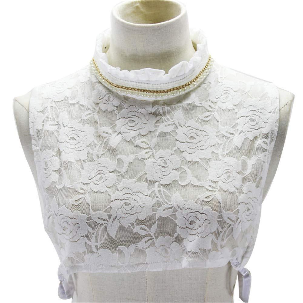 Yiph-Tie Lazo Ocio Camisa de Dama Falda de Encaje Medio Cuello Camisa Desmontable Falso Faux Collar Cuff Gargantilla de algodón: Amazon.es: Jardín