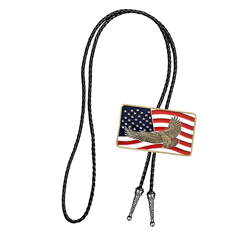 空いている制限する厳密にPrettyia ネックレス ペンダント ネクタイ メンズ アメリカの旗 古典的 PUレザー ギフト