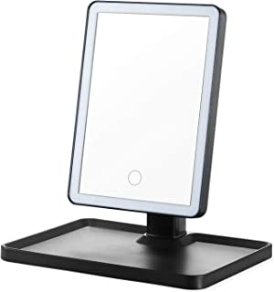 OMIRO Lighted Makeup Mirror with LED Lights,Touch Screen,Two power Supply,Travel Cosmetic Mirror