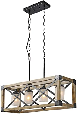 Farmhouse Kitchen Island Light Fixture, Linear Chandelier for Dining Room, 4-Light Rectangular Pendant Lighting with Glass Gl