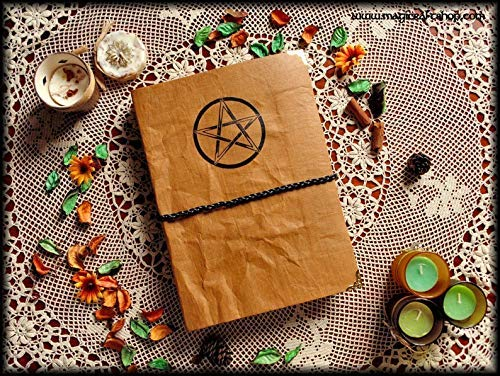 Book of Shadows with pentacle ivory pages A4 size wiccan pagan