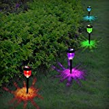 Aityvert Solar Path Lights Outdoor, Color Changing Solar Pathway Lights Waterproof Landscape Lighting Auto On/Off LED Solar Lights for Garden Lawn Patio Walkway Driveway Yard - 4-Pack