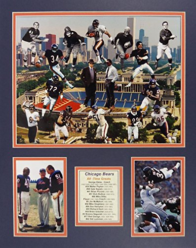 """Chicago Bears - Bears Greats 16"""" X 20"""" Unframed Matted Photo Collage by Legends Never Die, Inc."""