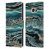 Head Case Designs Licenciado Oficialmente LebensArt Luxury Turquoise Gemstone Marble Carcasa de Cuero Tipo Libro Compatible con Samsung Galaxy S7 Edge