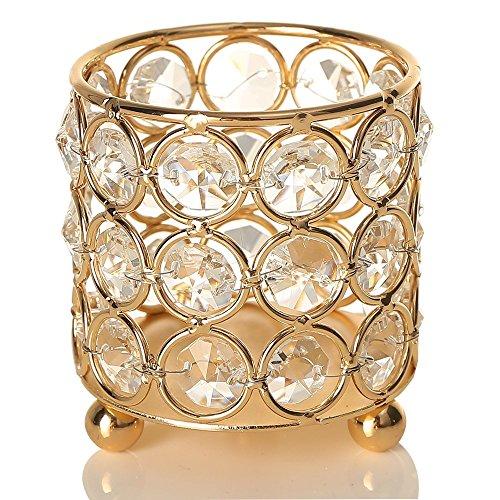 VINCIGANT Portavelas de Cilindro de Cristal Dorado, Portacepillos de Maquillaje, para Centros de Mesa de Comedor, Decoracion navidena 3 Capas