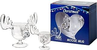 Christmas Moose Mug with Moose Shot Glass Gift Boxed Combo Pack - Safer Than Glass
