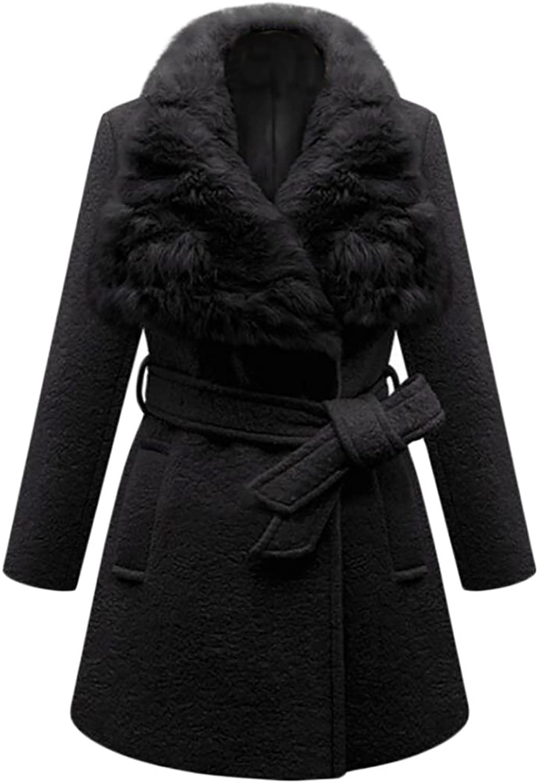 Esast Women's Warm Shearling PureColour LongSleeves Woollen Coat with Belt