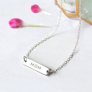 Personalised Sterling Silver Mother's Day Bar Necklace MOM, MOMMY, MOTHER, MUM, MUMMY, MAMA or MAMMA