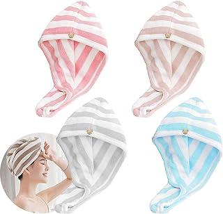 Osuter 6 Pezzi Asciugamano Capelli Turbante in Microfibra Asciugatura Rapida con Bottone Turbante Asciugamano per Femmina Capelli Lunghi e Corti