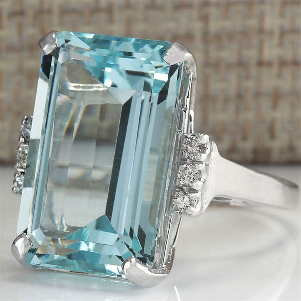 WEILYDF Square Ring Women Unique Personality Engagement Ring Transparent Blue Topaz Ring for Womens Wear