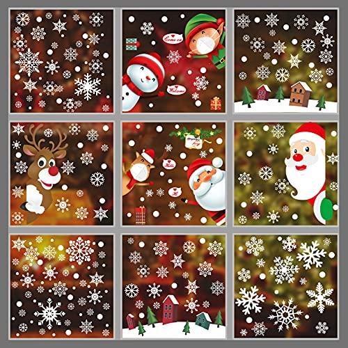 295 PC Decoración Navidad Hogar, PVC Pegatinas de ventana de doble cara Autoadhesivas Decoración de ventana de Navidad, reno con máscara de alce, decoración de invierno Decoración de Navidad