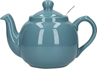 London Pottery Farmhouse Small Teapot with Infuser, Ceramic, Aqua, 2 Cup (600 ml)