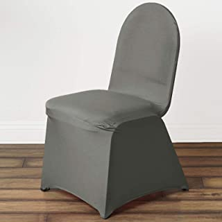 BalsaCircle 10 pcs Charcoal Grey Spandex Stretchable Banquet Chair Covers for Party Wedding Linens Decorations Dinning Ceremony Reception Supplies