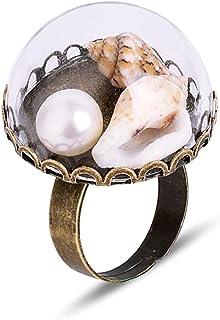 نجم البحر شل بيرل حلقة نصف الكرة تغطية بوكا بيان خاتم هاواي بيتش كونش باند مجوهرات قابلة للتعديل للنساء الرجال الفتيات