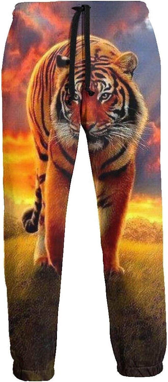 Men's Jogger Sweatpants Sunset Tiger Walking 3D Loose Joggers Pants with Drawstring Long Pants