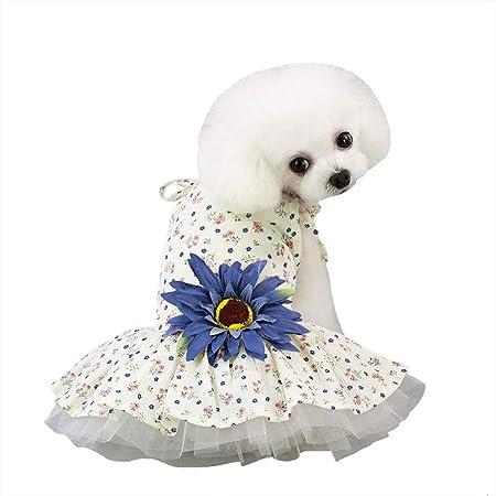 Petea Dog Dress Daisy Flower Gauze Stripe Lace Tutu Dog Dress Vest Apparel Skirt Clothes Pet Puppy Birthday Princess Clothes for Dogs and Cats