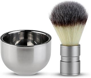 Tinksky ひげブラシ シェービングブラシセット ステンレス鋼剃るボウル 泡立ち 洗顔ブラシ 男性 髭剃り 美容ツール