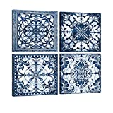 Vintage Flowers Pattern Blue Wall Art 4 Panels Framed Canvas Art Bathroom Abstract Pictures Modern Navy Posters Mandala Prints Home Decor for Living Room Kitchen Bedroom Office Decoration