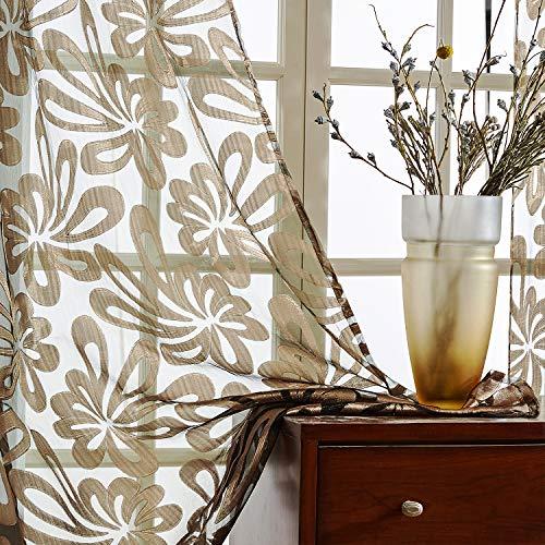 Top Finel Cortinas de Salon Dormitorio Moderno Cocina Visillo Transparente de tratamientos para Ventana con Ojales,140x245cm, Marrón,2 Pieza