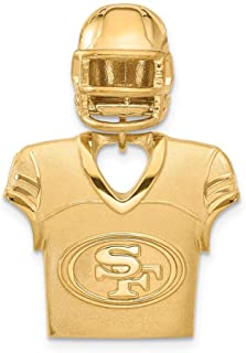 NFL Sterling Silver GP San Francisco 49ers Jersey and Helmet Pendant
