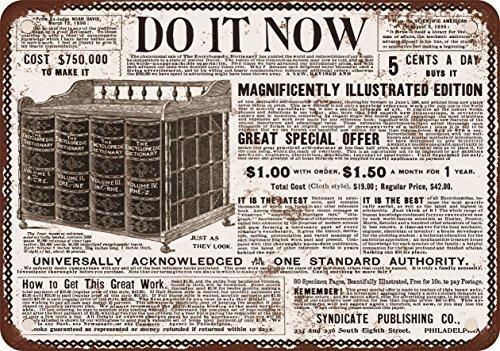 1896 Encyclopedias Look Vintage Reproduction Metal Tin Sign 8 x 12 inch