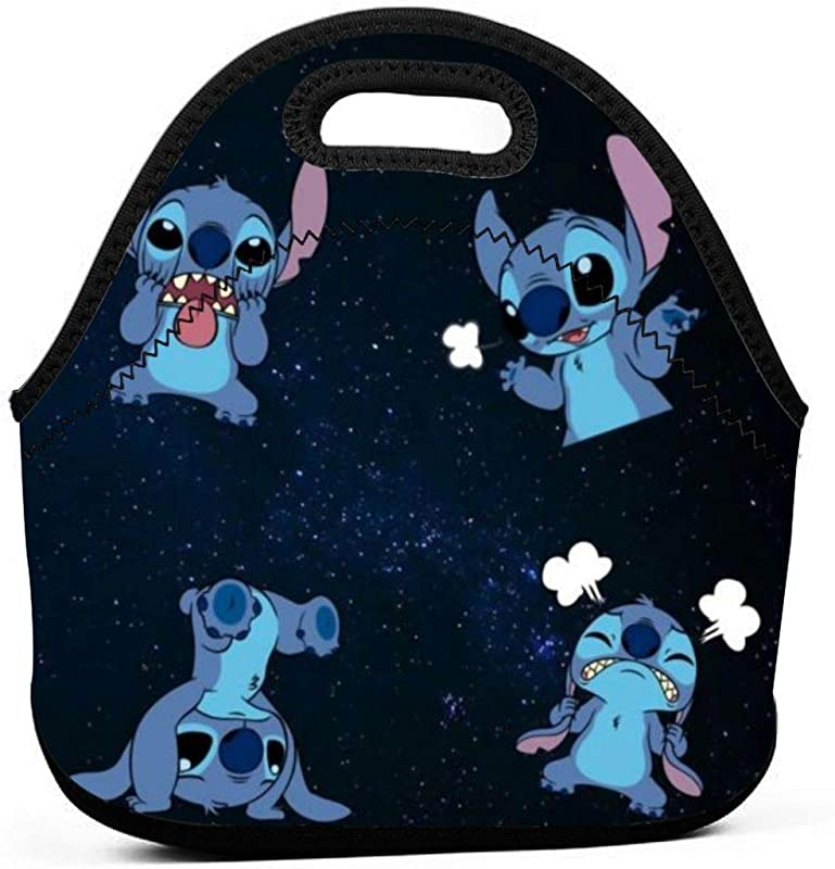 Insulated Neoprene Picnic Storage Bag Gourmet Handbag For Men Women Lilo Stitch Drawings Tumblr Cute Stitch Lunch Bags Reusable Zipper Bento Lunch Box Food Tote