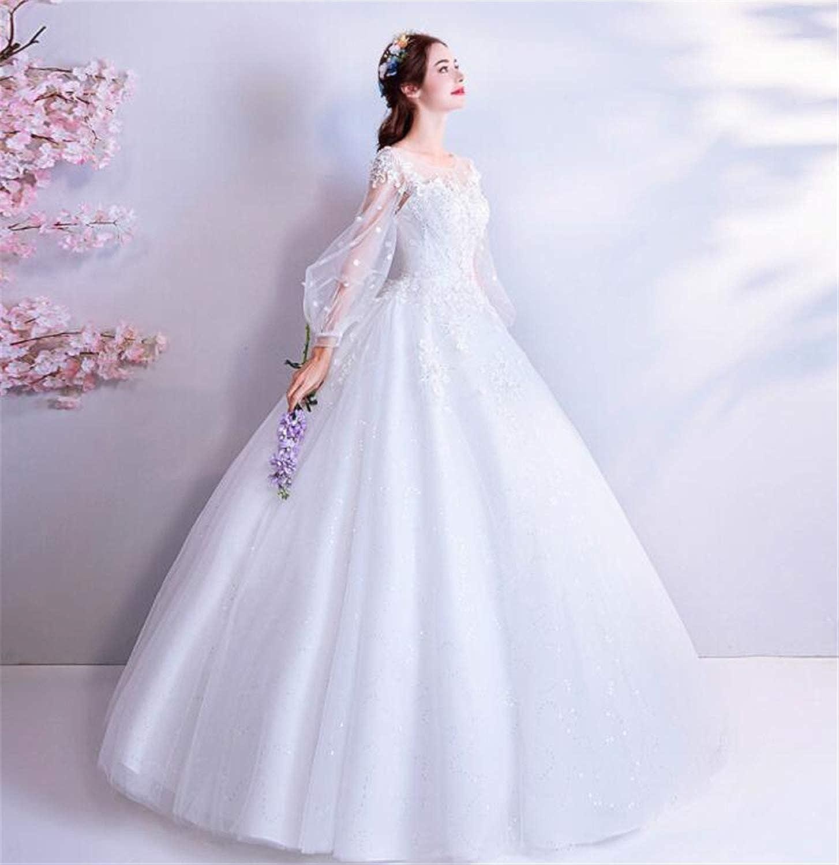 Bride Wedding Dress Vintage French Elegant Princess Puff Sleeve Lace Flower Long Sleeve Bridal Wedding Dress White