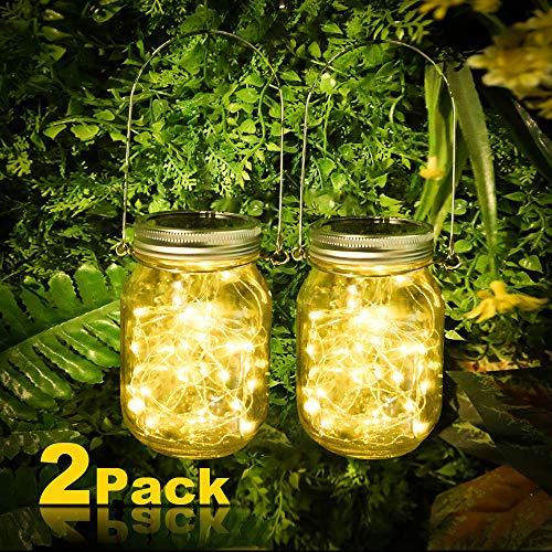 [2 Stück ]Solarlampen für Garten, Vivibel 30 LEDs Solar Mason Jar Licht, Solarlicht Einmachglas, Lichterkette im Glas, Solar Glas Warmweiß Garten Hängeleuchten für Außen, Party, Wand, Tisch, Hochzeit