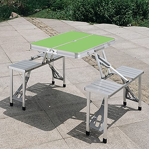 SUPERFIVE Mesa Camping Plegable con 4 Sillas, Weatherproof Parasol Stand Foldable Picnic Table Camping Furniture Set Camping, Suitable For Outdoor/Construction/Living Area