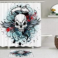 MIMUTI シャワーカーテン バスマット 2点セット 悪魔の翼を持つ激しい頭蓋骨 自家 寮用 ホテル 間仕切り 浴室 バスルーム 風呂カーテン 足ふきマット 遮光 防水 おしゃれ 12個リング付き
