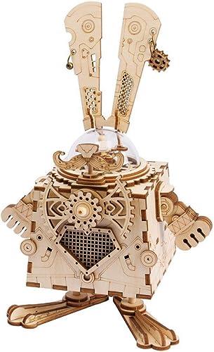 te hará satisfecho CAI-1 3D Puzzle DIY DIY DIY Movimiento ensamblaño Modelo de Conejo de Madera para Niños niñas Niños Cerebro Entrenamiento cumpleaños graduación Regaños Caja de música Conejito  en linea
