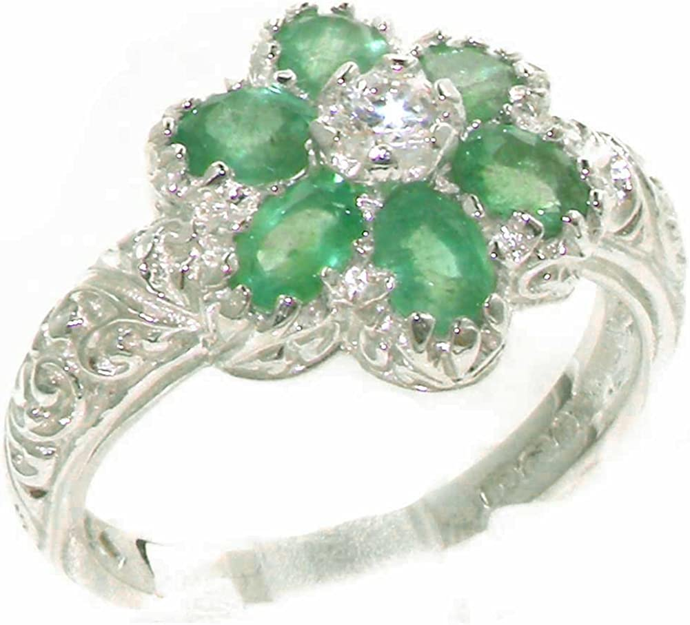 925 Sterling Silver Cubic Zirconia Genuine and Max 46% OFF Super intense SALE Real Emerald Wome