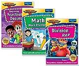 Elementary Math Skills 3 DVD Set - Math Words Problems DVD, Division Rap DVD, Beginning Fractions & Decimals DVD