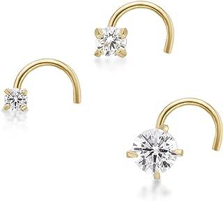 14K Yellow Gold Stud Cubic Zirconia Nose Ring 3-Piece Set