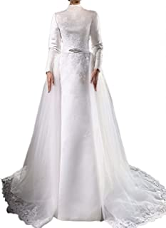 Vintage Long Sleeve High Neck Muslim Wedding Dresses Evening Gowns with Detachable Skirt 2019 White