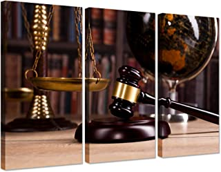 Hello Artwork Vintage Office Room Decor 3 Pieces Canvas Wall Art Law Firm Scales Justice Legal Hammer Old Globe Codex Books Library Background Picture On Canvas for Court Decoration Ready to Hang