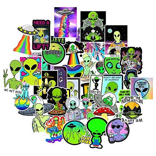 XIAMU Pegatinas de alienígenas de Dibujos Animados Graffiti Skateboard Nevera Laptop Equipaje de Motocicleta Calcomanía de Juguete clásico 50Uds