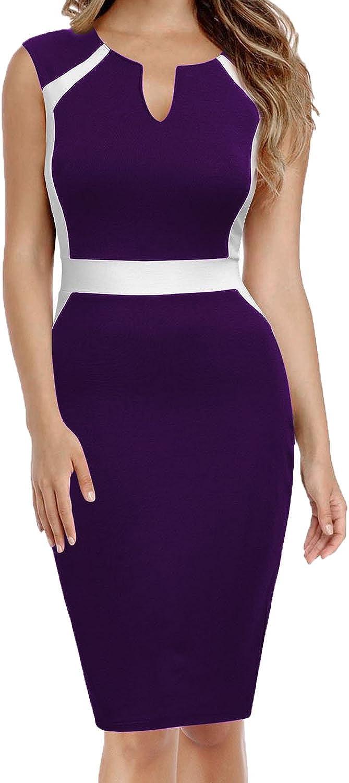MUSHARE Women's Sleeveless Colorblock Slim Office Work Business Pencil Dresss