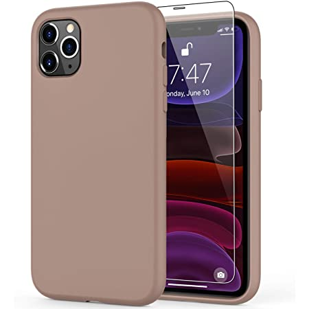 """DEENAKIN iPhone 11 Pro Max Case with Screen Protector,Soft Liquid Silicone Gel Rubber Bumper Cover,Slim Fit Shockproof Protective Phone Case for iPhone 11 Pro Max 6.5"""" Light Brown"""