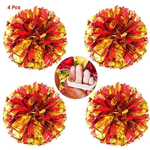 AUHOTA 4 Stücke Cheerleading Pom Poms mit Finger-freundlich Ring, Hell Metallic Cheerleader Pompons, Prämie Cheering Handblumen zum Sport Cheers Ball Dance Kostüm Party Spirit-80g/Pro (Rot/Gold)