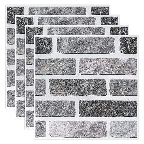 Soyizom Azulejos adhesivos para pared de mármol para decoración del hogar, 4 unidades