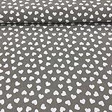 Erstklassiger Baumwollstoff 0,5lfm, 100prozent Baumwolle, modische Muster, Breite 160cm – Herzen grauer Hintergr&