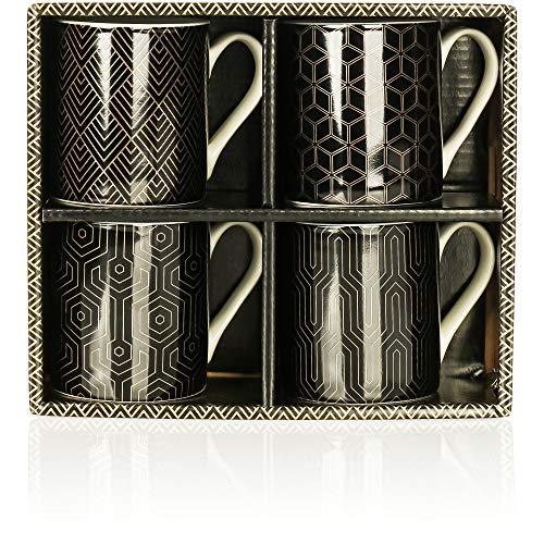 com-four® 4x Kaffeebecher aus Keramik - Kaffee-Tasse im modernen Design - Kaffeepott für Tee und Glühwein - 200 ml je Tasse (schwarz/goldfarben)