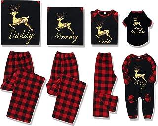 Christmas Family Matching Pajamas Set, Plaid Elk Sleepwear Outfits for Pet Baby Kid Mom Dad