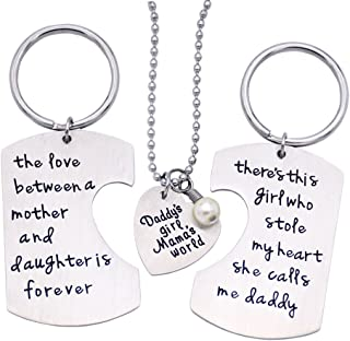 Fathers Mothers Birthday Jewelry Necklace Gift, Mommy Daddy Son Stole Heart Set Little Boy Kids Love Mothers Day Fathers Pendant Necklace Set of 3, Gift for Daughter
