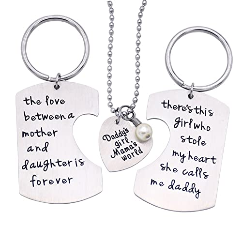 ORIYA Fathers Mothers Birthday Jewelry Necklace Gift Mommy Daddy Son Stole Heart Set