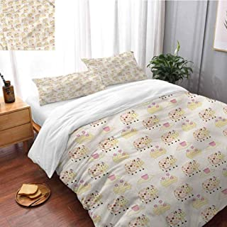 HRoomDecor Kids Super Soft and Easy Care Pillowcases Cows with Flowers Farm Full Size(80x90 Inch) Print Comforter Cover Set
